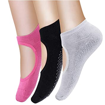 edd90d0ca Calcetines antideslizantes de algodón, 3 pares, para pilates, barra, yoga y  ballet, talla 36-43: Amazon.es: Deportes y aire libre