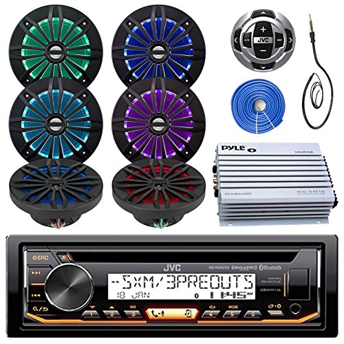 JVC Marine Stereo Receiver Bundle Kit with Remote Control, 6 Enrock 6.5″ Marine Speakers, Pyle 4 Ch 400w Waterproof Amplifier, Enrock Wire Antenna, Enrock 50 ft Speaker Wire (Black)