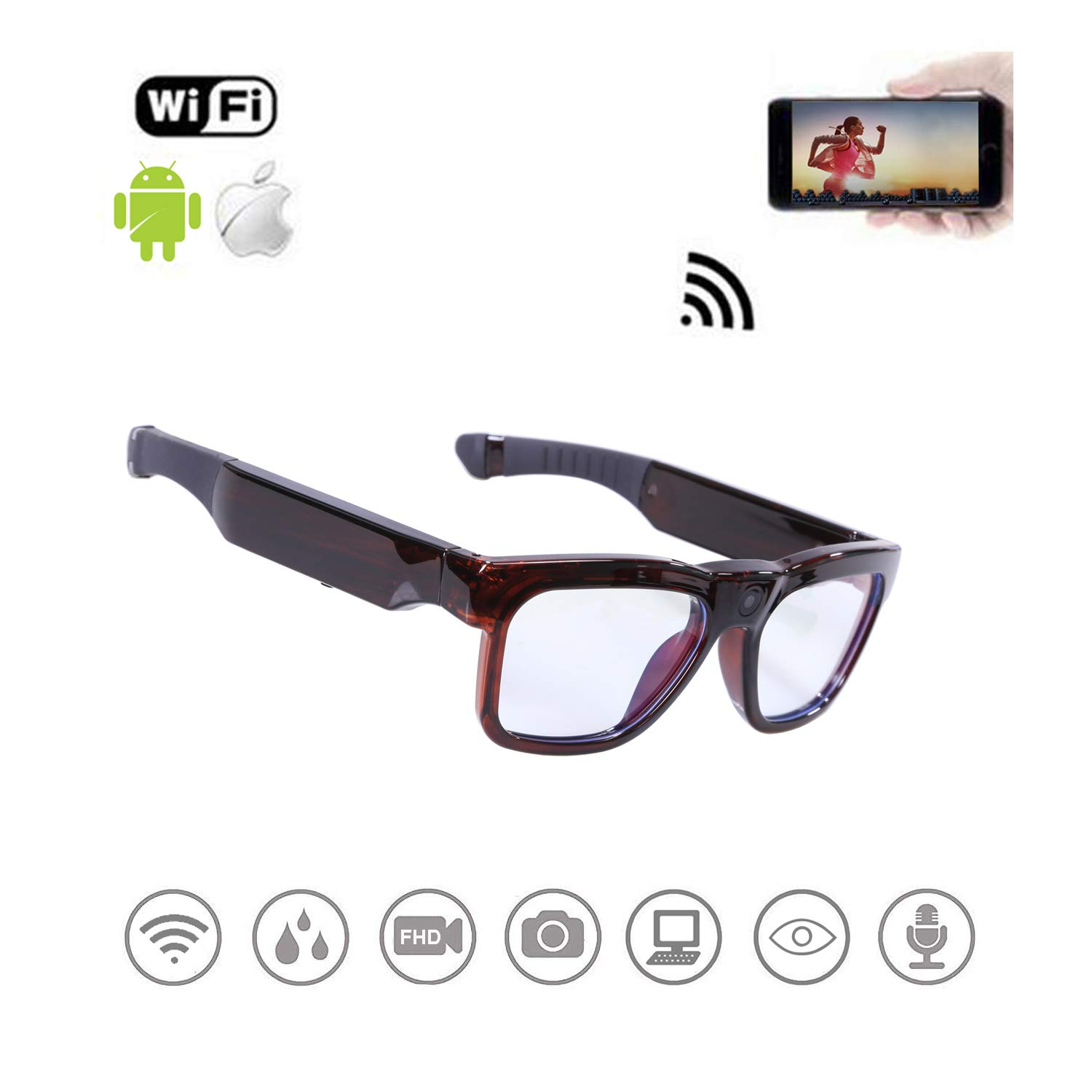 WiFi Live Streaming Video Sunglasses, Streaming Videos & Photos from Glasses to Mobile Phone by App with Ultra Full HD Camera, Built-in 64GB Memory and Blue Light Blocking Glasses for Gaming, Reading by OhO sunshine