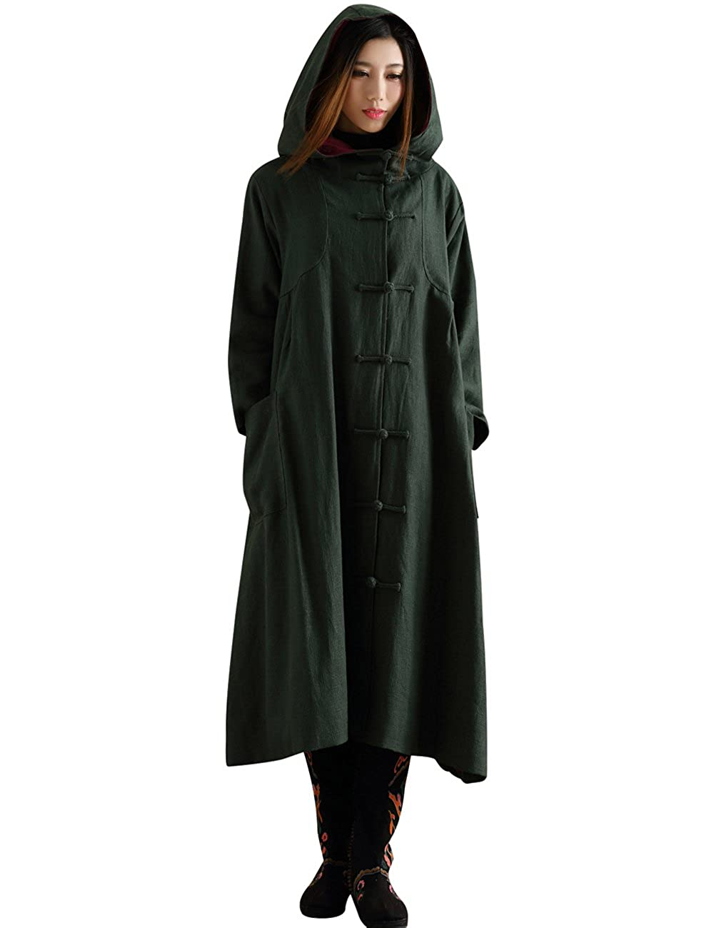 Women's Warm Witch Coat Long Trench Coat With Hoodi Pants