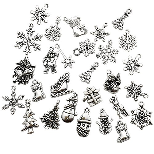 (Youdiyla 75 PCS Silver Christmas Charms Collection, Mix Snowflake Snowman Bells Santa Claus Reindeer Deer Trees Stocking Socks Metal Pendant Supplies Findings for Jewelry Making (HM41))