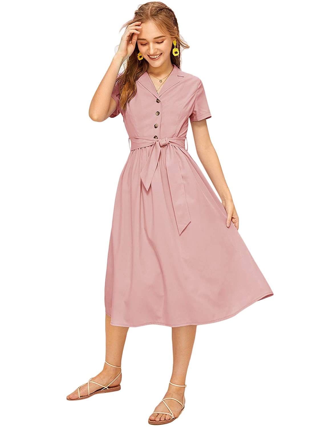 Vintage Shirtwaist Dress History Verdusa Womens Short Sleeve Button Front Belted Solid Midi Dress $26.99 AT vintagedancer.com
