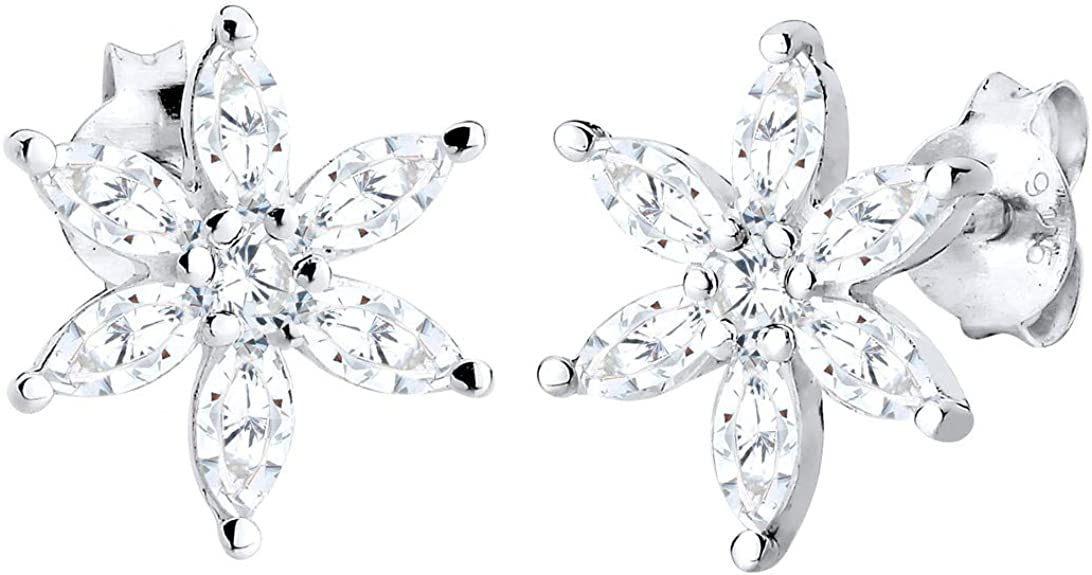 Sterling Silver Delicate Flower Earrings with Cubic Zirconia