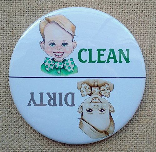Big Magnet: 3.5', Dishwasher, Clean or Dirty Dishes, Cute, Smiling Boy, From Original Art