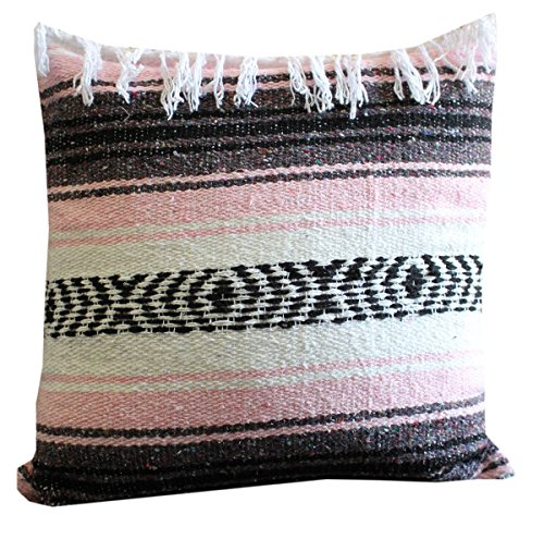 Del Mex Classic Throw Pillow Cover 18 x 18 Mexican Blanket Style (With Top Fringe, Light Pink) Pink Fringe Pillow