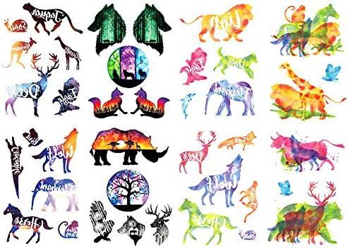 Oottati 8 Hojas Tatuajes Temporales Brazo Pierna Gradiente Zoo ...
