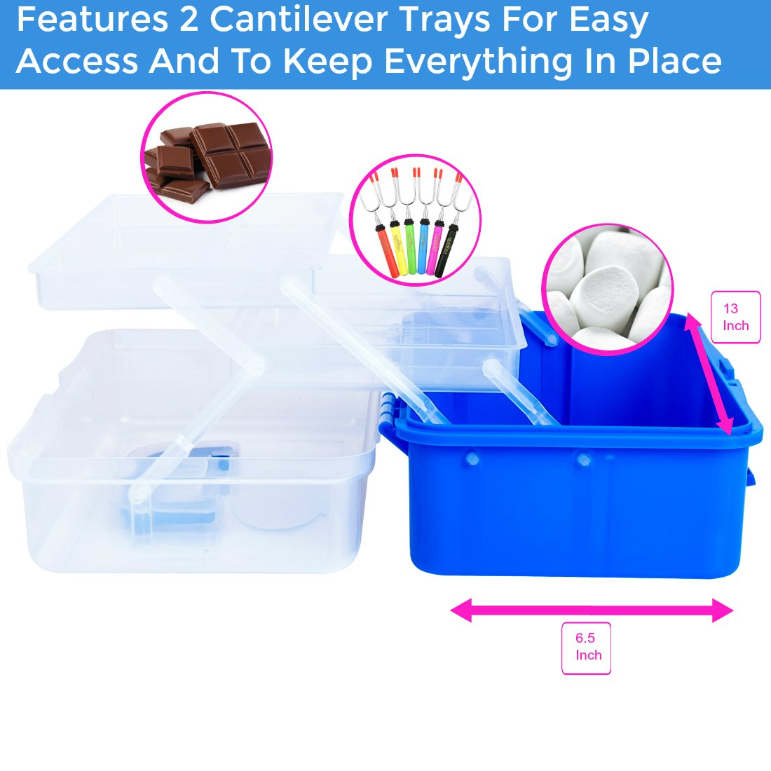 SUMPRI Smores Caddy with Two Folding Trays -Smore Box That Keeps Your Marshmallow Roasting Sticks/Crackers/Chocolate Bars Organized -Fire Pit Accessories Kit,Campfire Smore Skewers Storage Box (Blue) by SUMPRI (Image #3)
