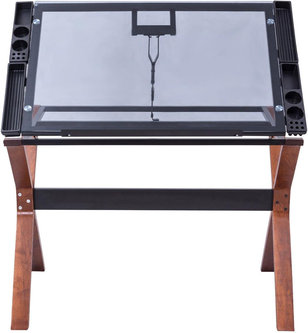 Madera Ajustable mesa de dibujo dibujo para capacidad 110 Lbs W/tapa de cristal: Amazon.es: Juguetes y juegos