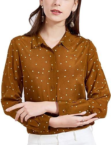 E-girl E7158 - Blusa de seda para mujer, 100% seda, cuello de ...