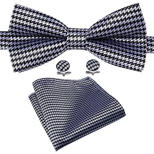 Mens Pretied Black Plaid Bow Tie Set Formal Tuxedo Bowtie Pocket Square Cufflinks Set Yohowa