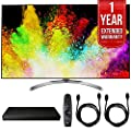 LG 65SJ8500 65-inch Super UHD 4K HDR Smart LED TV (2017 Model) w/ Blu-ray Player Bundle Includes, LG (UP970) 4K Ultra-HD Blu-ray Player w/ Multi HDR, 1 Year Extended Warranty & 2x 6ft. HDMI Cable