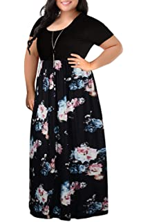 db82974df1e VISLILY Womens Floral Print Long Sleeve Plus Size Casual Maxi Dress with  Pockets