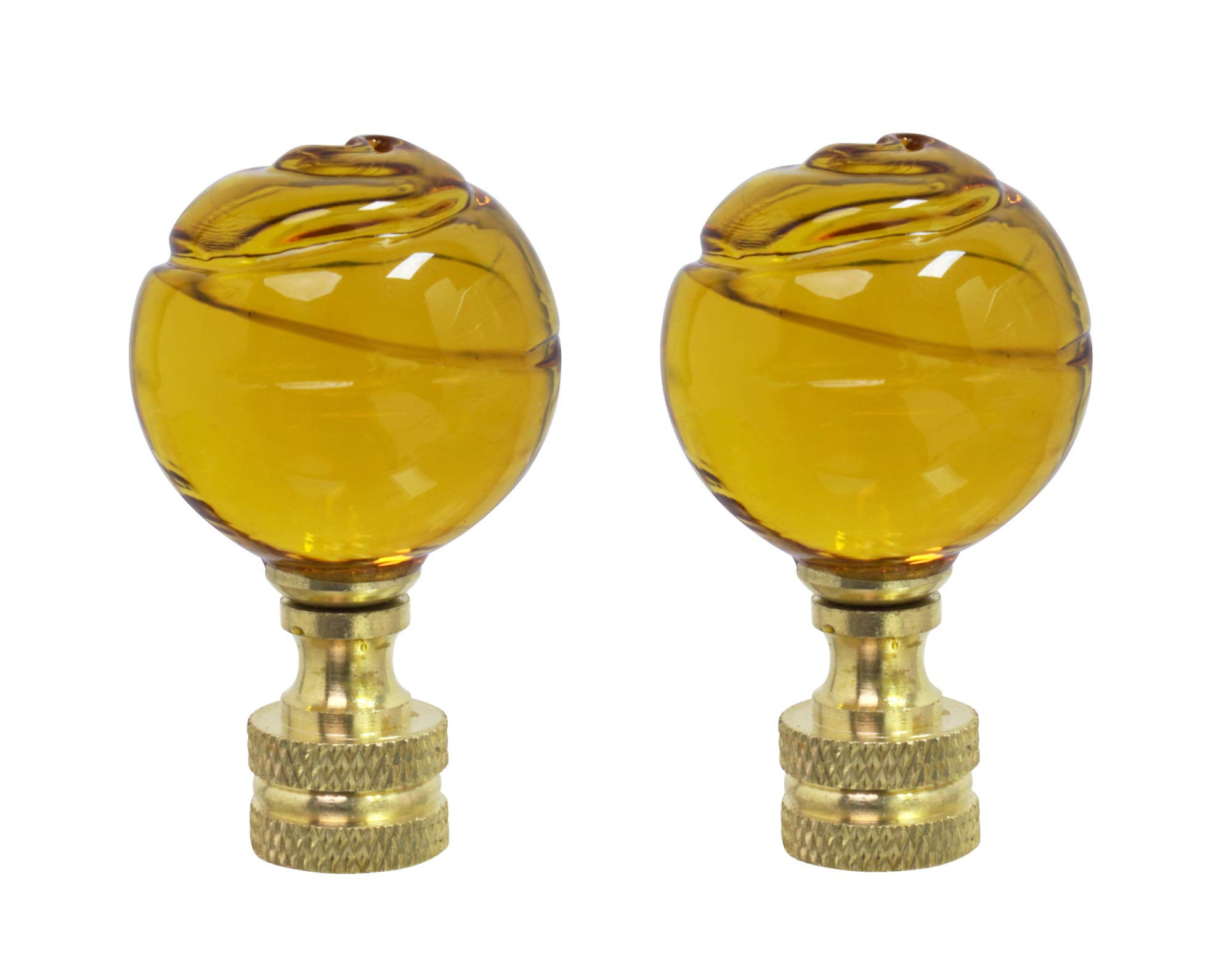 Aspen Creative 24015-12, 2 Pack Yellow Glass Ball Lamp Solid Brass Finish, 2'' Tall Finial