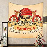 Gzhihine Custom tapestry Manly Decor Tapestry Motorbike Power Hipster Style Stylish Risky Ride Driving Vehicle Throttle Chopper Bedroom Living Room Dorm Decor
