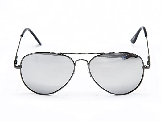 cheap mirrored aviators  Amazon.com: Goson Classic Black Frame/Silver Lens Mirror Lens ...