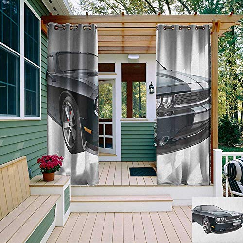 leinuoyi Cars, Porch Curtains Outdoor Waterproof, Black Modern Pony Car with White Racing Stripes Coupe Sports Dragster Print, for Privacy W72 x L96 Inch Black Grey White