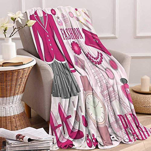 - maisi Girls Warm Microfiber All Season Blanket Fashion Theme in Paris with Outfits Dress Watch Purse Perfume Parisienne Landmark Print Artwork Image 60