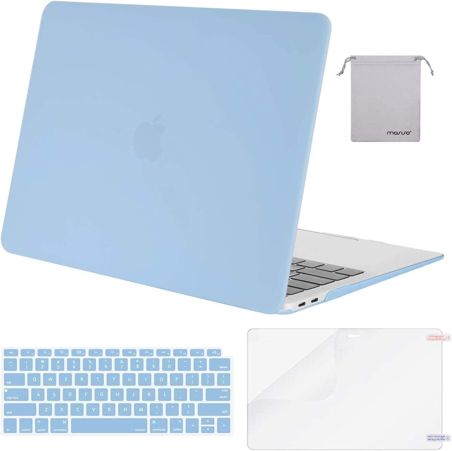 MOSISO MacBook Air 13 inch Case 2020 2019 2018 Release A2179 A1932 with Retina Display, Plastic Hard Shell&Keyboard Cover&Screen Protector&Storage Bag Compatible with MacBook Air 13, Airy Blue