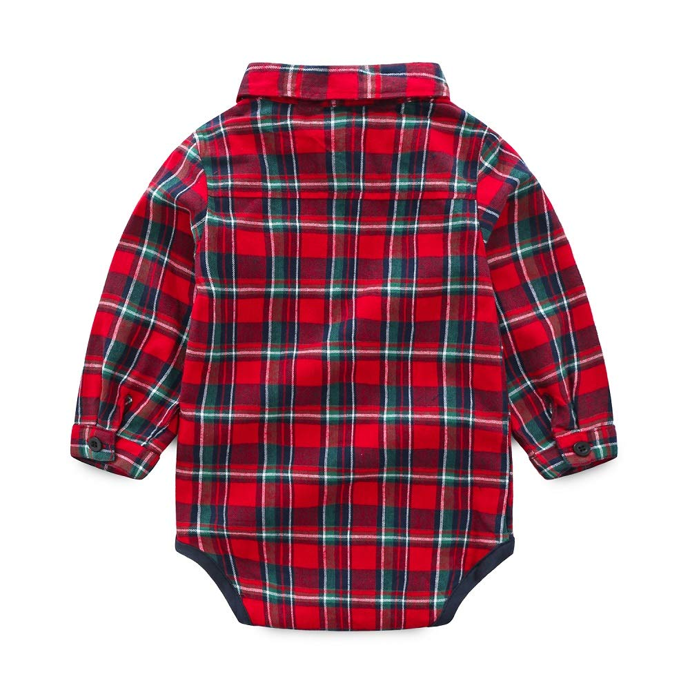 Xiangwu Textitle Toddler Baby Boys Gentleman Outfits Long Sleeve Shirt Romper+Suspender Pants+Bow Tie Overalls Clothes Set