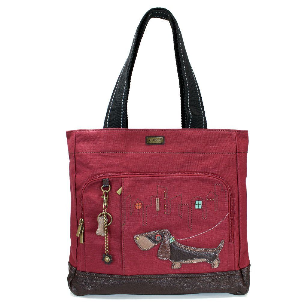 Chala Red Canvas Pocket Tote Bag with Bone Key Ring (824- Weiner Dog)