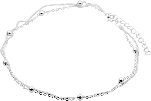 Handmade Sterling Silver Plated Butterfly Charmed Anklet Adjustable