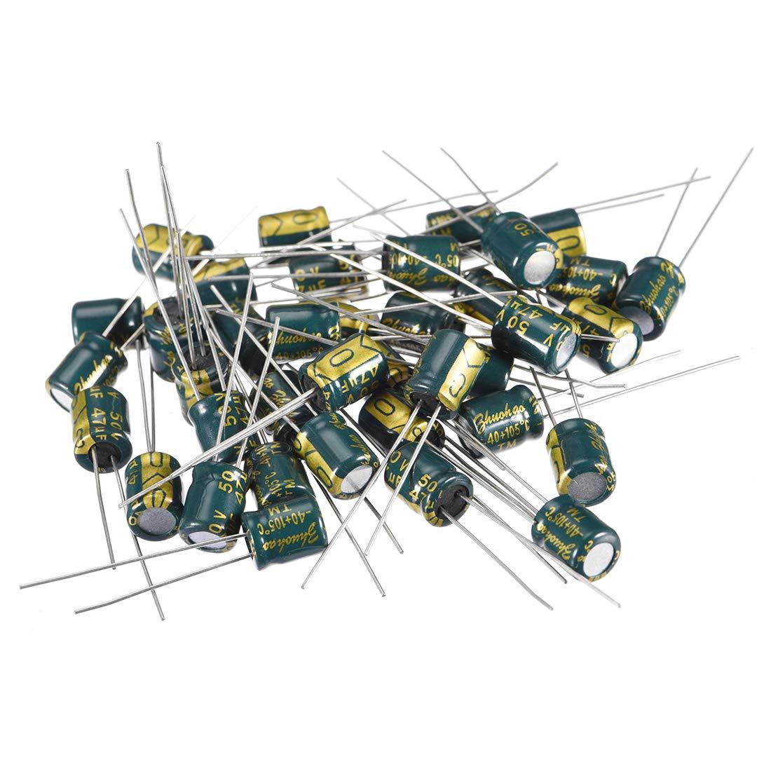 sourcing map Condensador Electrol/ítico Radial De Aluminio Bajo ESR Verde 470uF 35V 10 X 17mm 20Pcs