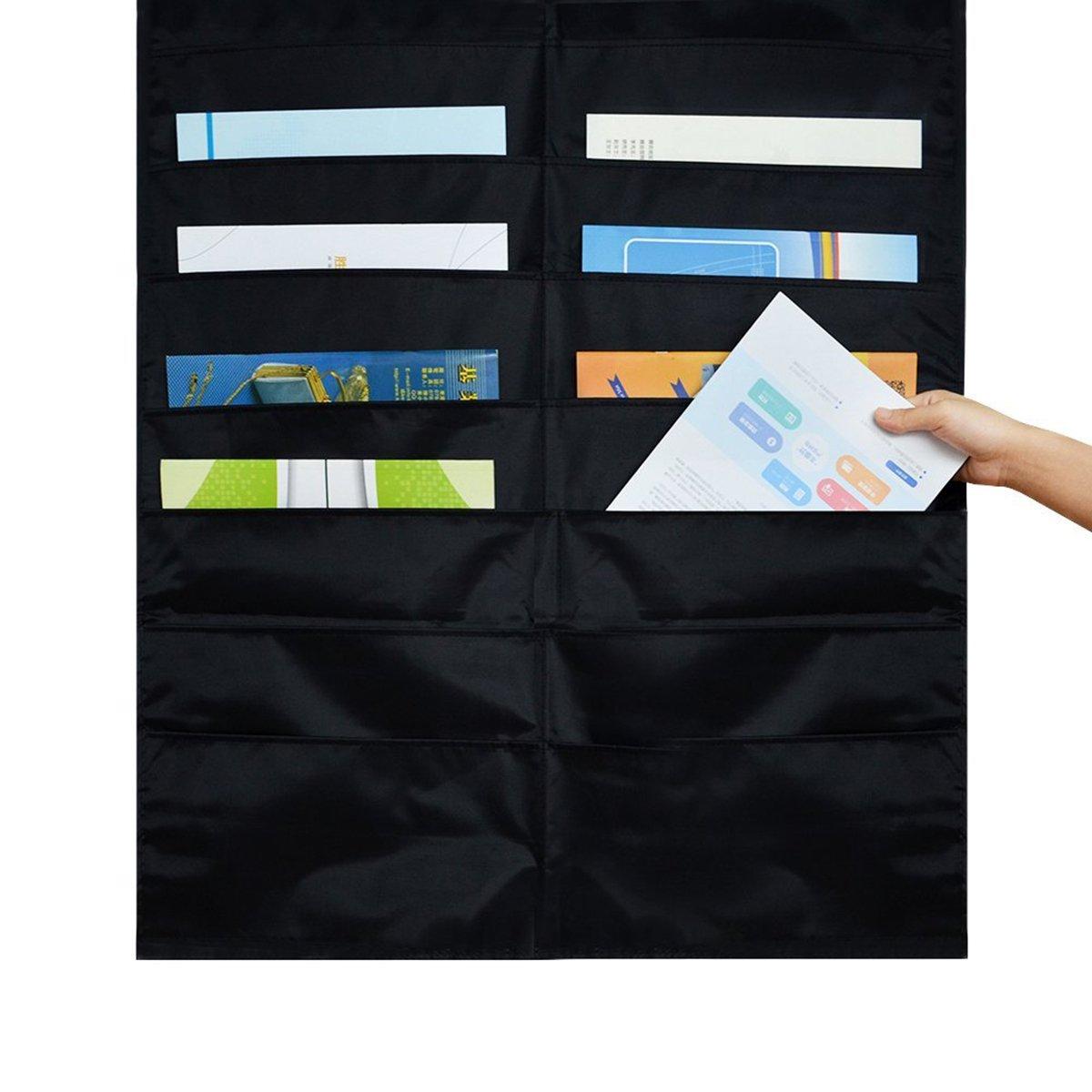 appeso cartellina cascata del tessuto organizer per ufficio e scuola Room nero Iwishu 20/slot Storage Pocket chart