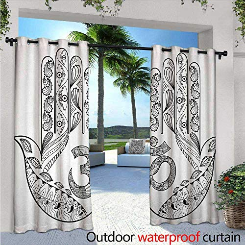 Hamsa Exterior/Outside Curtains W84 x L108 Praying Hands Paisley Mandala Religious Patterns Sign Evil Eyes for Protection Art for Patio Light Block Heat Out Water Proof Drape Black White -