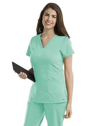Amazon Greys Anatomy 41452 Womens V Neck Solid Scrub Top