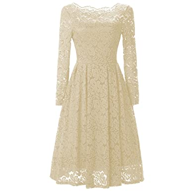 01150a5559 TIAQUE Women Lace Vintage Dress Boat Neck High Waist Long Sleeve Cocktail  Formal Swing Knee Length Dresses: Amazon.co.uk: Clothing