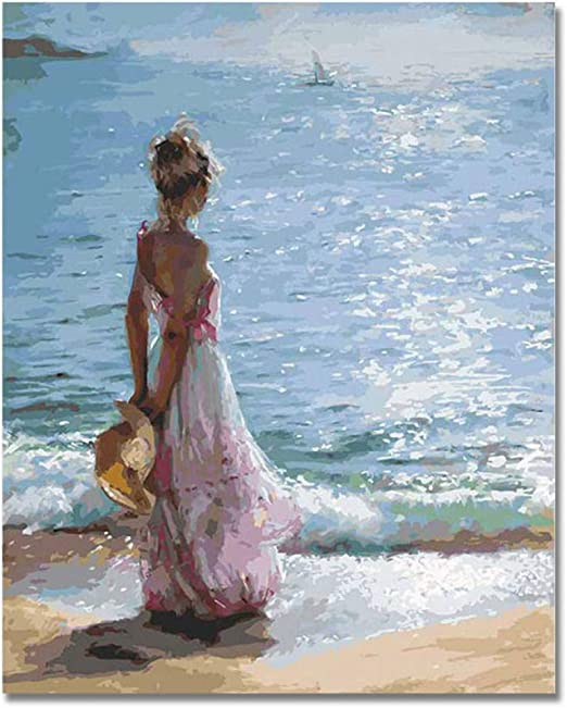 Estadounidense Mujer Niña Mirando Al Mar Amante Abstracto Pintura Pareja Pintura Al óleo Moderna Oficina Pintura Decorativa A 30 40 Cm Amazon Es Hogar