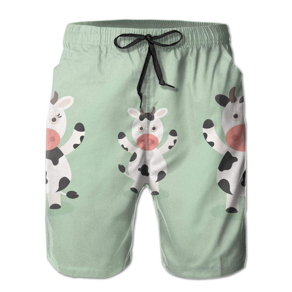 Horizon-t Beach Shorts Cow Mens Fashion Quick Dry Beach Shorts Cool Casual Beach Shorts