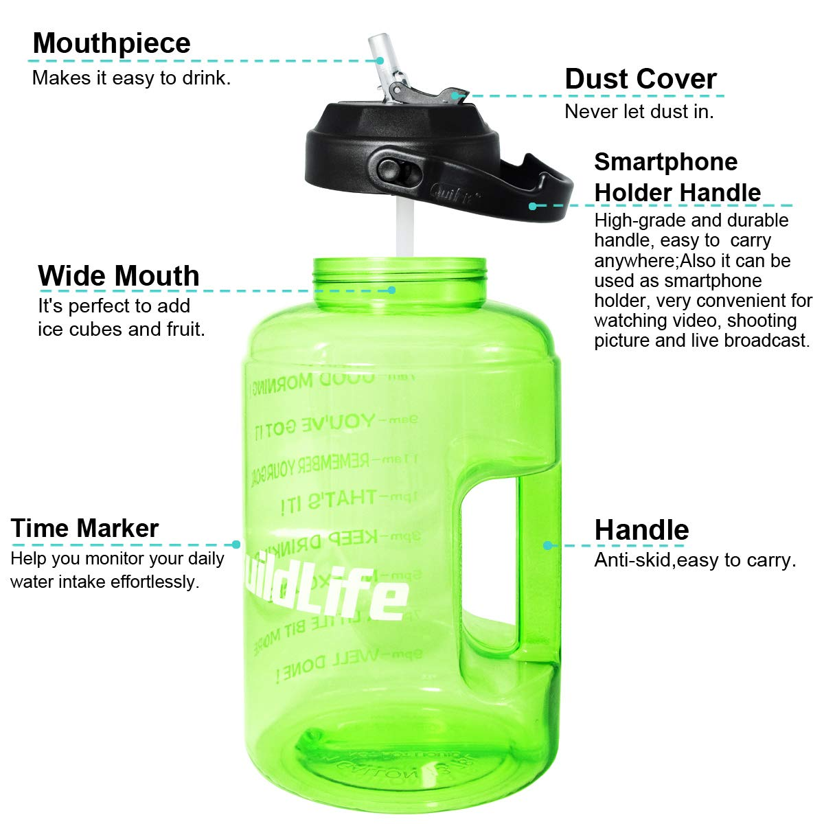 BuildLife 1 Gallon Water Bottle with Starw /& Motivational Time Marker Large BPA Free Wide Mouth with Handle Reusable Leakproof to Drink More Water Daily