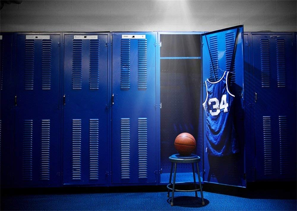 Leowefowa Vinyl 7X5FT Basketball bluee Locker Backdrop Polo Shirt Chair Lights Grunge Floor Interior Sports Theme Photography Background Kids Adults Photo Studio Props