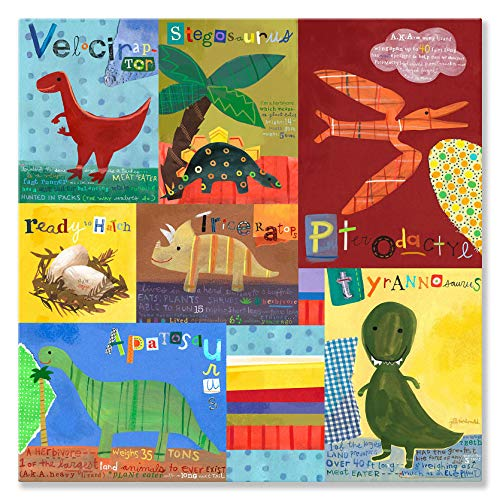 Oopsy Daisy Dino Squares Stretched Canvas Wall Art by Jill McDonald, 24 by 24-Inch