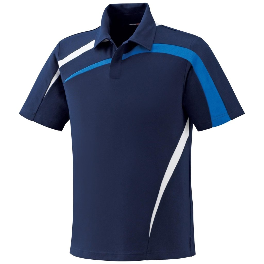 Ash City Mens Impact Pique Color Block Polo (Small, Night/Light Nautical Blue/White) by Ash City Apparel