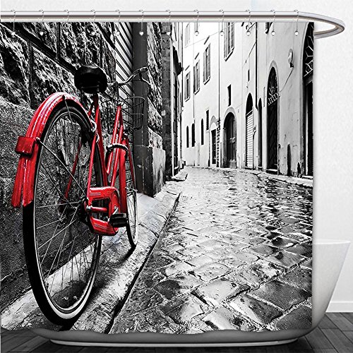 Beshowere Shower Curtain Bicycle Decor Classic Bike on Cobblestone Street in Italian Town Leisure Charm Artistic Photo Decor Red Black and (Jet Italian Charm)