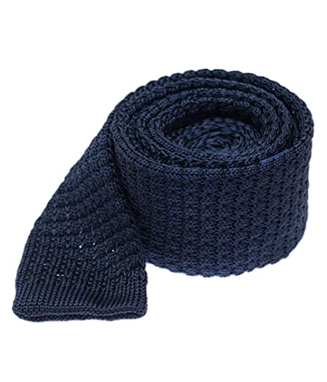 69d4fe304366 The Tie Bar Textured Solid Knitted Silk Navy Tie at Amazon Men's ...