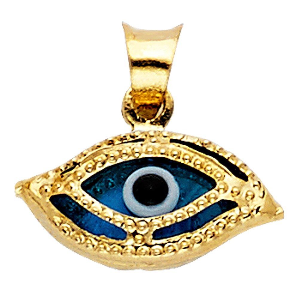 Million Charms 14k Yellow Gold Small//Mini Evil Eye Charm Pendant 7mm x 13mm