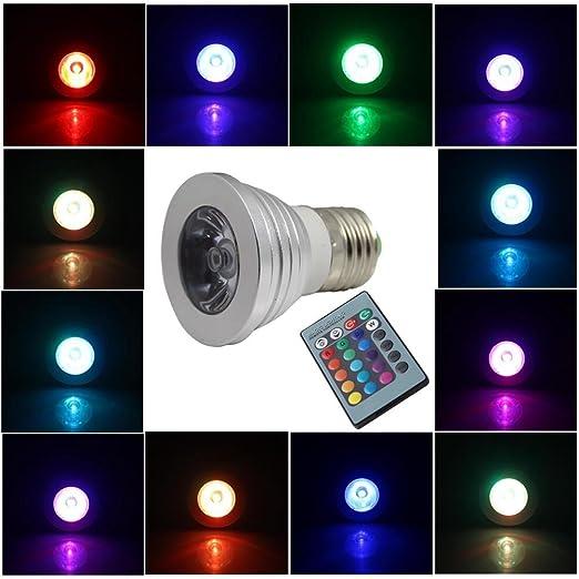 Generic increíble ahorro de energía 3 W E27 RGB Bombilla LED multicolor Lámpara flash, strobe