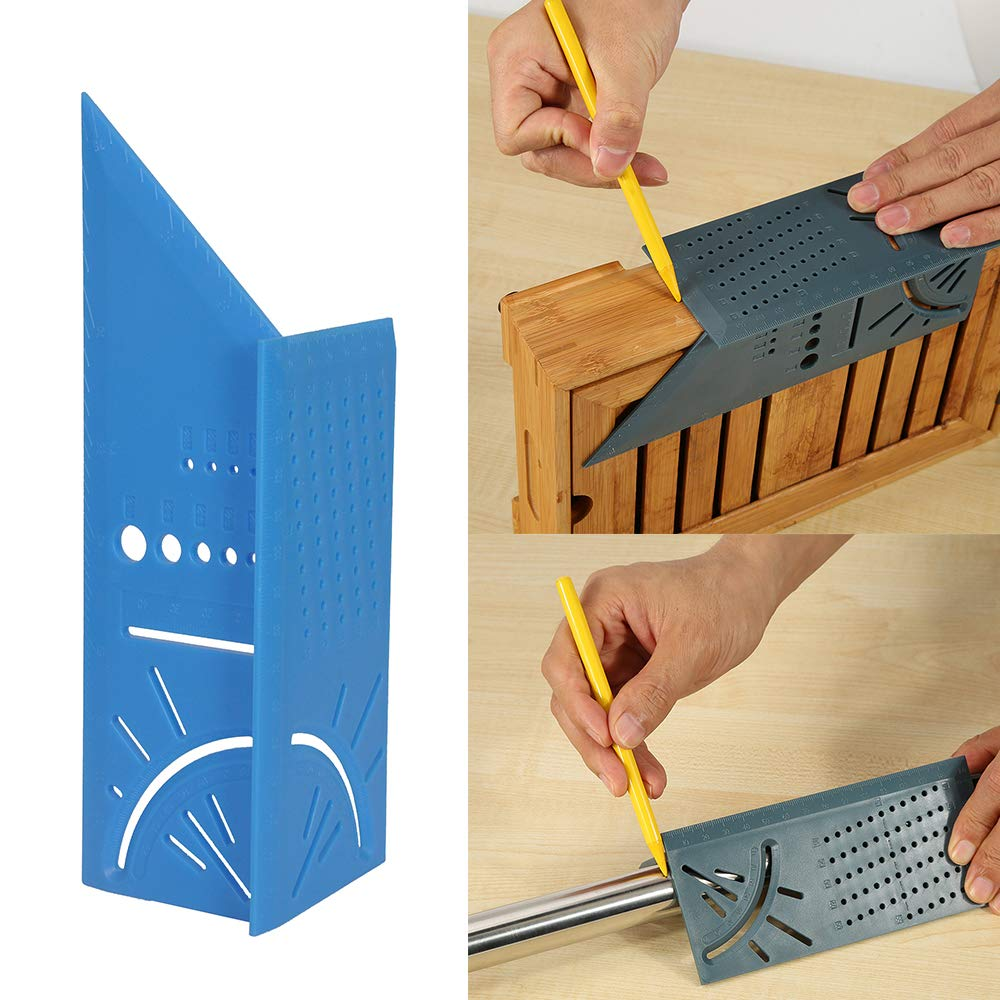 Dark Blue Galapara 3D Mitre Angle Measuring Square Size Measure Tool with Gauge Ruler Square Layout Miter 45/° 90/° Metric Rule
