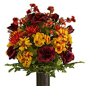 Burgundy Rose with Sunset Spider Mum Artificial Bouquet, featuring the Stay-In-The-Vase Design(c) Flower Holder (LG2084) 44