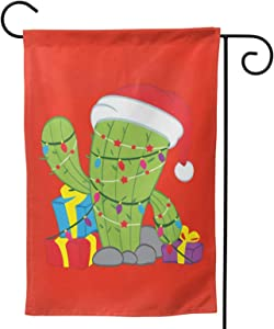 "Fejarx Cactus Christmas Tree Xmas Lights Santa Christmas Garden Flag Double Sided Small Winter Garden Flag 28""X40"""