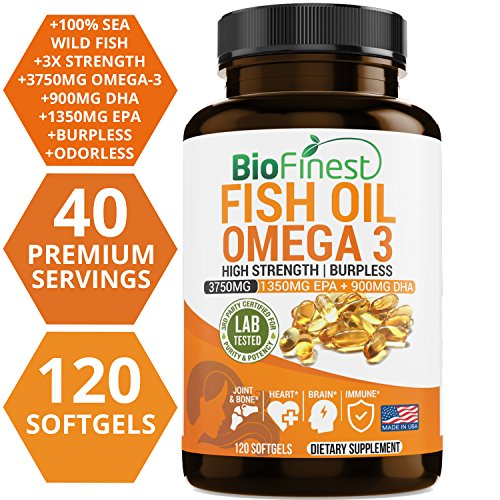 Biofinest Omega 3 Fish Oil Supplement - Burpless & Odorless - with 3750mg EPA 1350mg, DHA 900mg Natural Fatty Acids From Deep Sea -Joint Support, Heart Health, Brain, Eyes, Skin (120 softgels capsule)
