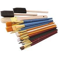 Homyl Set de 25pcs Cepillos para Pintura Miniatura Arte Profesionales Juego de Pinceles Pintar al Óleo Acrílica Acuarela