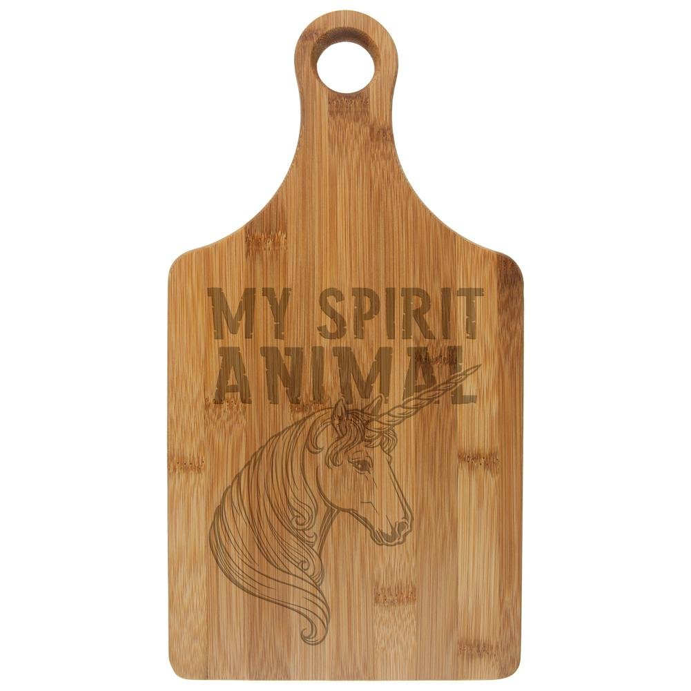 Unicorn Is My Spirit Animal Funny Etched Bamboo Cutting Board Rawhide Standard One Size