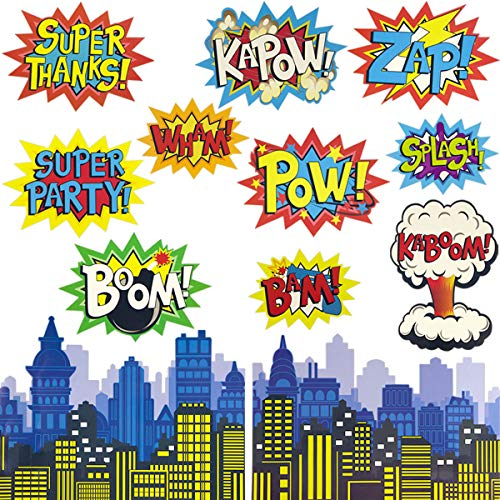 Large Superhero Action Signs Cutouts 12PCS Words and Cityscape Cut-Outs for Party Decoration -