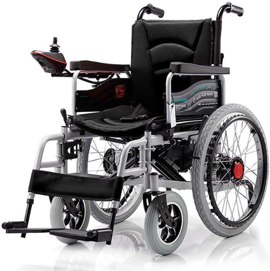 ZQYR Wheelchair@ Silla de Ruedas Eléctrica | Minúsvalidos | con Motor 250W*2 | Auton. 12~15 km | 24V/20AH | Batería Larga duración | Advertencia de Marcha atrás | Negro