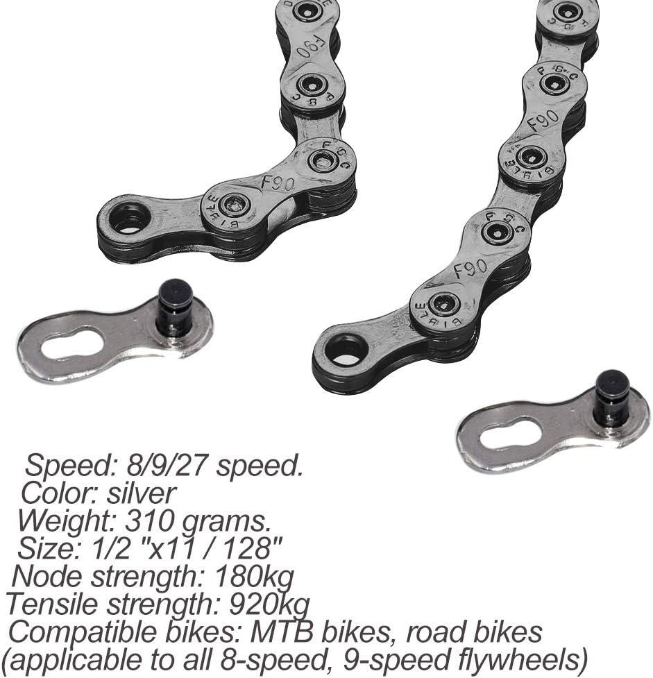 GOODGDN 116L 116L Cadenas de Bicicleta, Plata(1 / 2x11 / 128 Pulgadas) Compatible con 8 velocidades.