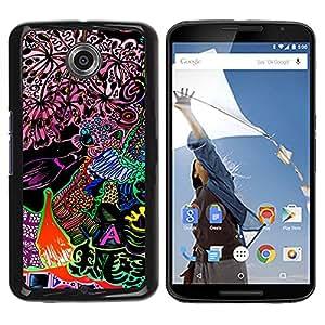 For NEXUS 6 / X / Moto X Pro - Neon Bright Fantasy Drawing /Modelo de la piel protectora de la cubierta del caso/ - Super Marley Shop -